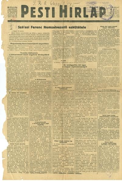 Pesti Hírlap újság 1944. november 5. - címlap
