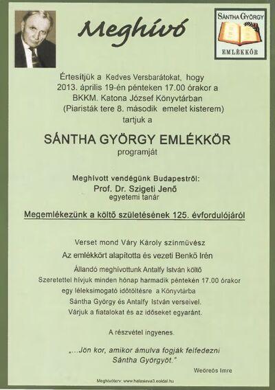 Sántha György emlékkör programja