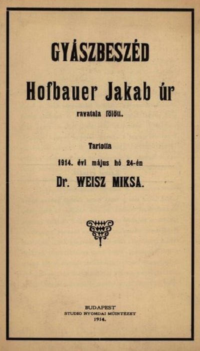 Weisz Miksa_Gyászbeszéd_1914.