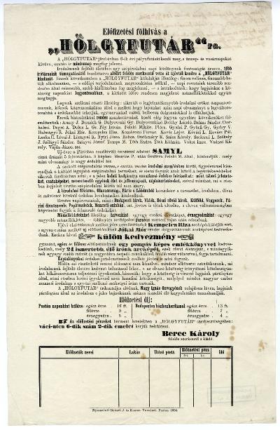 Előfizetési fölhívás a Hölgyfutár-ra, 1854