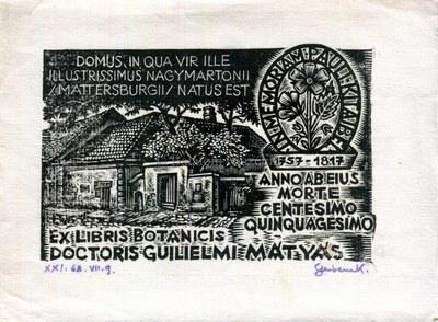 Ex libris botanicis Guilielmi Mátyás