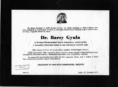 Barsy Gyula gyászjelentése