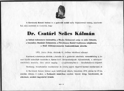 Csatári Szücs Kálmán gyászjelentése