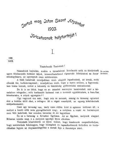 Pécsegyházmegyei Körlevelek 1903