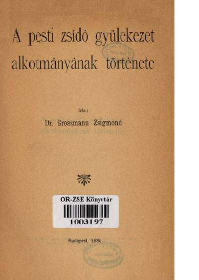A pesti zsidó gyülekezet alkotmányának története