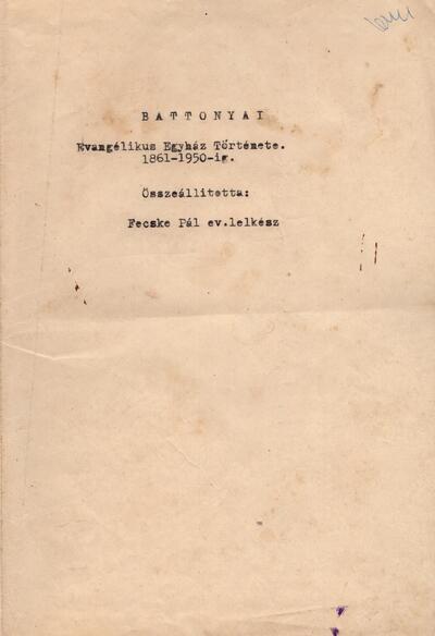 Battonyai evangélikus egyház története 1861-1950-ig