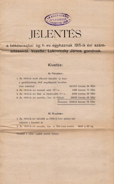 Jelentés a békéscsabai ág. h. ev. egyháznak 1915-ik évi számadásairól
