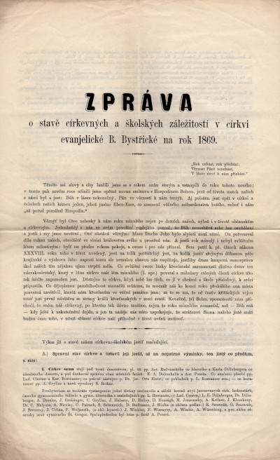 Zpráva o stavě církevných a školských záležitostí v církvi evanjelické B. Bystřické na rok 1869
