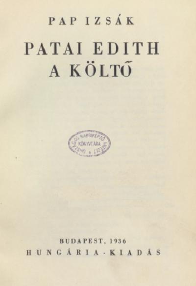 Patai Edith a költő