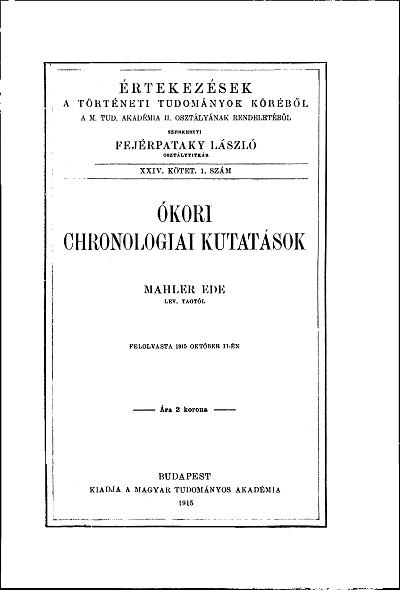 Ókori chronologiai kutatások
