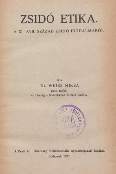 Zsidó etika a XI-XVII. sz. irodalmából
