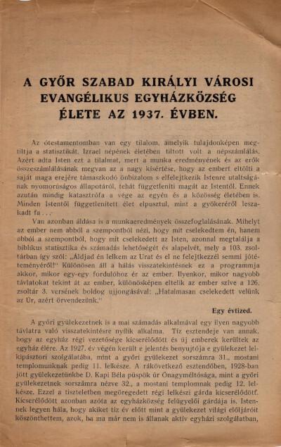 A Győr Szabad Királyi városi evangélikus egyházközség élete az 1937. évben