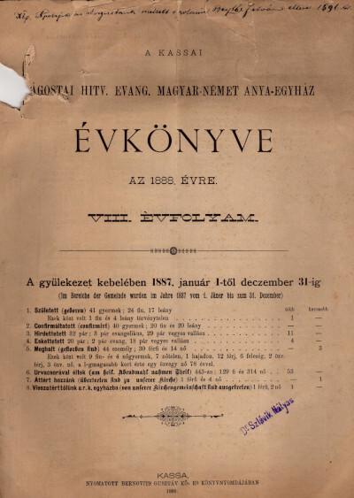 A kassai ágostai hitv. evang. magyar-német anya-házköz évkönyve az 1888. évre