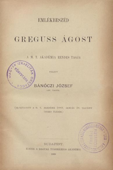 Emlékbeszéd Greguss Ágost