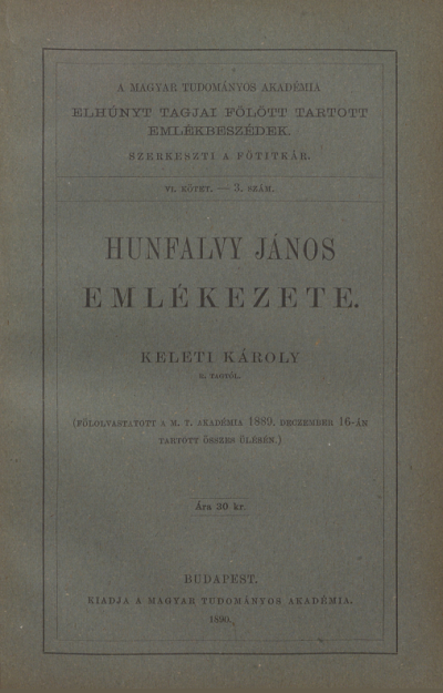 Emlékbeszéd Hunfalvy János