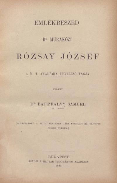 Emlékbeszéd Dr. Muraközi Rózsay József