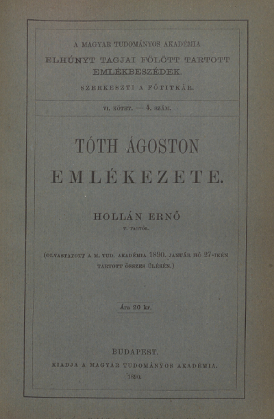 Emlékbeszéd Tóth Ágoston