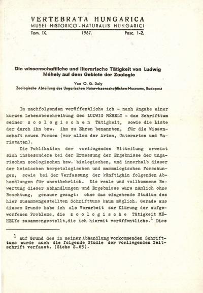 Die wissenschaftliche und literarische Tätigkeit von Ludwig Méhely auf dem Gebiete der Zoologie
