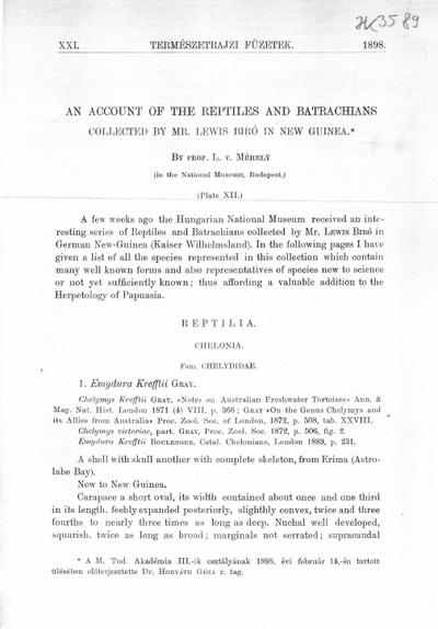 An account of the reptiles and batrachians collected by Mr. Lewis Biró in New Guinea