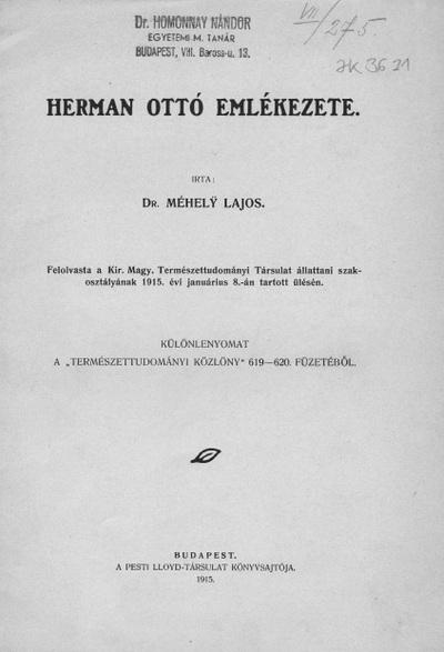 Herman Ottó emlékezete