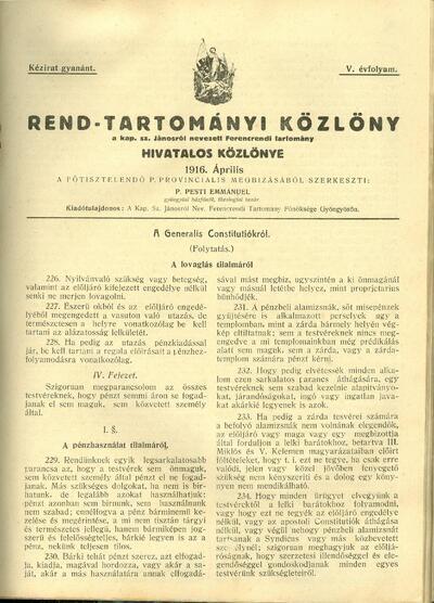 Rend-Tartományi Közlöny 1916. április