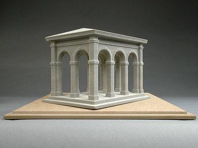 Reliefperspektivisches Modell einer Bogenhalle