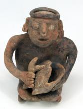 Beeld figuur met slaginstrument, van aardewerk