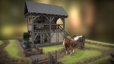 Animated medieval watermill
