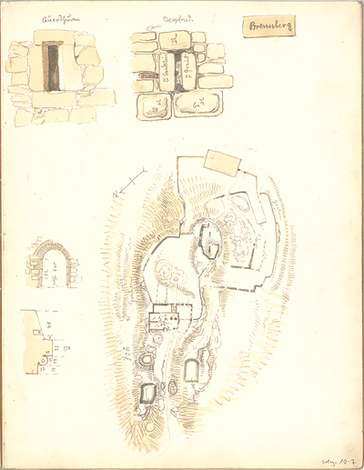 Weysser, C. Fritz; Bayern; Regensburg; Bauaufnahmen (Zeichenheft) - in Brennberg (Grundriss, Details)