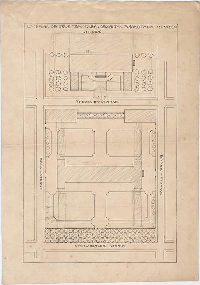 Hildebrand, Adolf von; München; Pinakotheken, Erweiterung - Erweiterung der Alten Pinakothek (Lageplan)