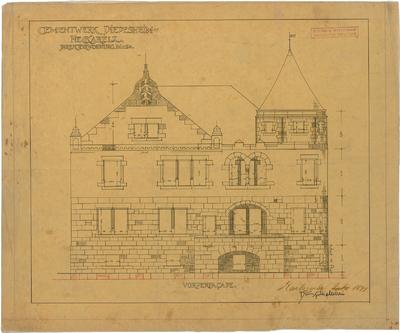 Billing, Hermann; Diedesheim - Neckarelz (Baden-Württemberg); Portland - Zementwerke - Direktoren Villa, Fassade Front (Ansicht)