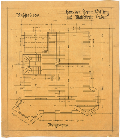 Billing, Hermann; Baden-Baden, Beuttenmüllerstr. 7 (früher 5); Haus Billing und Mallebrein - Grundriss OG