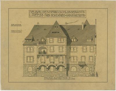 Billing, Hermann; Karlsruhe, Kriegsstr. 159 / Bunsenstr. 12; Doppelhaus L. Meess - Fassade zur Bunsenstraße (Ansicht)