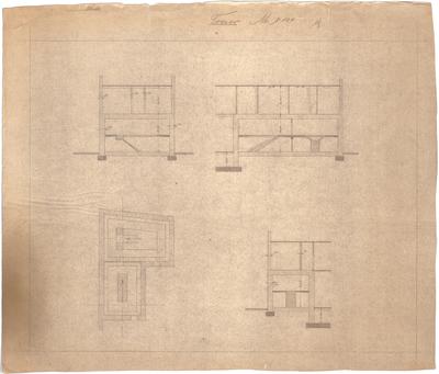 Billing, Hermann; Karlsruhe, Friedrichsplatz 12; Badische Bank, Umbau - Tresor (Grundriss, Schnitte)