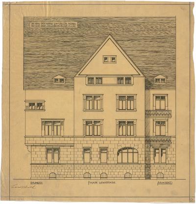 Billing, Hermann; Karlsruhe, Wendstr. 13 a / Dragonerstr. 11; Haus Schmidt und Cons. - Fassade Wendstraße (Ansicht)