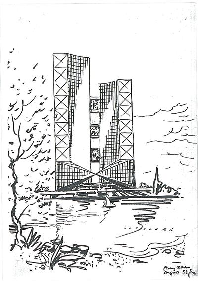 Schneider - Esleben, Paul; Düsseldorf, ARAG - Platz 1; 'ARAG 2000', Hauptverwaltung der Allgemeinen Versicherungs-AG - Entwurf: Hochhaus (Ansicht)