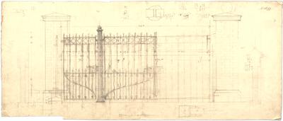 Thiersch, Friedrich von; München, Georgenstr. 16; Haus Thiersch - Zaun mit Eisengitter (Ansicht, Schnitt)
