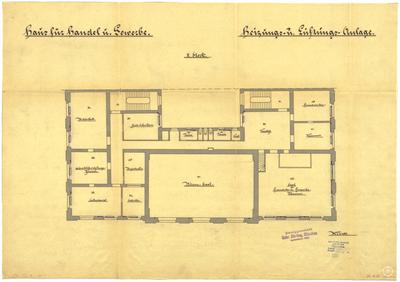 Thiersch, Friedrich von; München; Haus für Handel und Gewerbe - Heizung, Lüftung (Grundriss 2. OG)