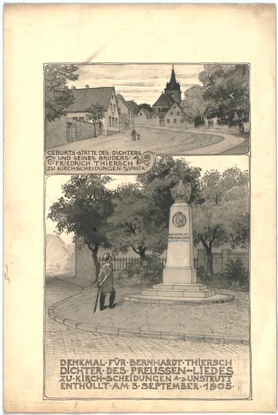 Thiersch, Friedrich von; Kirchscheidungen an der Unstrut; Denkmal für Bernhard Thiersch - Ansichten