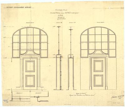 Thiersch, Friedrich von; München; Justizpalast - Oberlichttüren in der Zentralhalle 1. OG (Grundrisse, Ansichten, Schnitte)