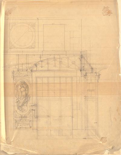 Thiersch, Friedrich von; Wiesbaden; Kurhaus - Detail, Schnitt