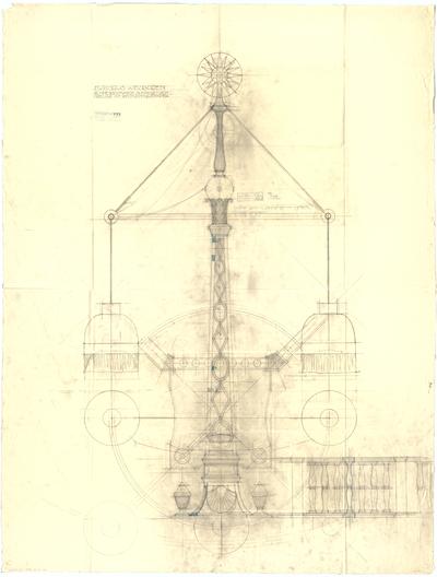 Thiersch, Friedrich von; Wiesbaden; Kurhaus - Obelisk mit Beleuchtung im Schreibzimmer (Detail)