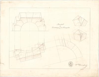 Thiersch, August; Studienarbeiten - Durchdringung zweier Tonnengewölbe (Schnitte)