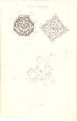 Leins, Christian Friedrich von; Paris (Frankreich); Pariser Handzeichnungen - Ornamente (Ansichten, Detail)