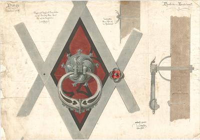 Leimbach, Karl; Emertsham; Pfarrkirche - Klopfer mit Knopf u. Kreuzbänder (Ansicht); Rosen u. Klopfer (Schnitte)