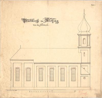 Müller, Josef Anton; Floßing; Pfarrkirche - Nordseite (Ansicht)