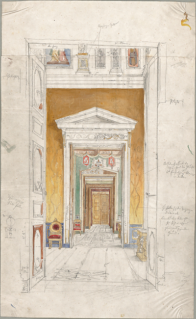 Seeberger, Gustav; München; Residenz, Königsbau, Zeichnungen - Enfilade (Perspektive)