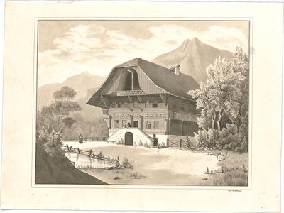 Bühlmann, Josef; Studienblätter und Reiseskizzen - Bauernhaus (Perspektive)