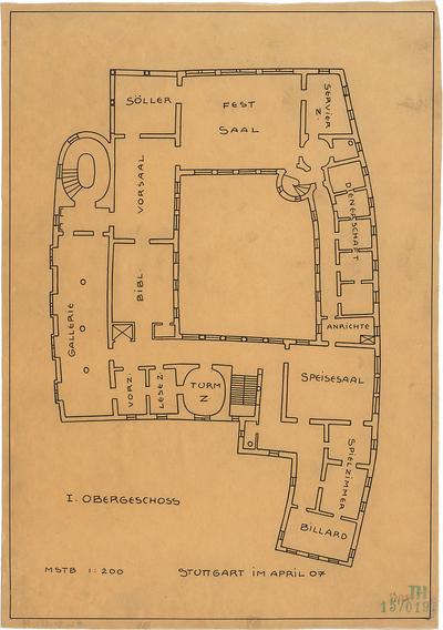 Fischer, Theodor; Leonberg; Schloss Scharrer - Grundriss 1. OG