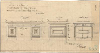 Fischer, Theodor; München - Westend, Bergmannstr.; Ledigenheim - Schreibtisch im Büro (Ansichten, Schnitt)